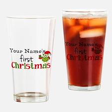 Custom Name 1st Christmas Owl Drinking Glass