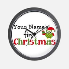 Custom Name 1st Christmas Owl Wall Clock
