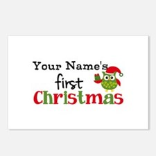 Custom Name 1st Christmas Owl Postcards (Package o