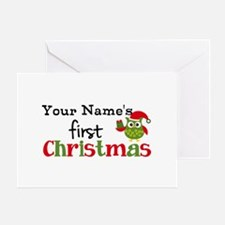 Custom Name 1st Christmas Owl Greeting Card