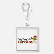 Baby Bump's 1st Christmas Owl Silver Square Charm