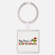 Baby Bump's 1st Christmas Owl Square Keychain