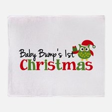 Baby Bump's 1st Christmas Owl Throw Blanket