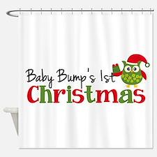 Baby Bump's 1st Christmas Owl Shower Curtain