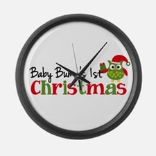 Baby Bump's 1st Christmas Owl Large Wall Clock