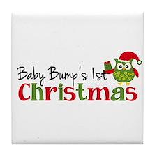 Baby Bump's 1st Christmas Owl Tile Coaster