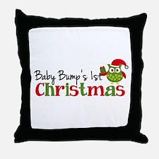 Baby Bump's 1st Christmas Owl Throw Pillow