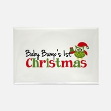 Baby Bump's 1st Christmas Owl Rectangle Magnet