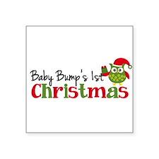 "Baby Bump's 1st Christmas Owl Square Sticker 3"" x"