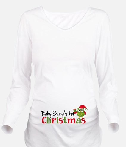 Baby Bumps 1st Christmas Owl Long Sleeve Maternity