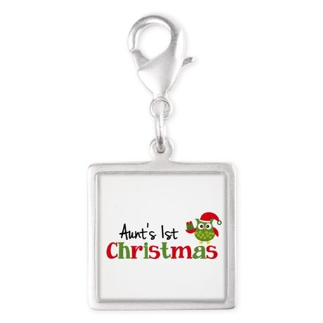 Aunt's 1st Christmas Owl Silver Square Charm