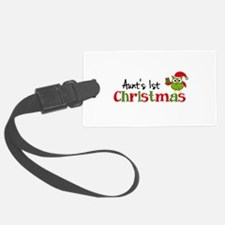 Aunt's 1st Christmas Owl Luggage Tag