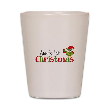 Aunt's 1st Christmas Owl Shot Glass