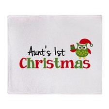 Aunt's 1st Christmas Owl Throw Blanket