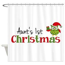 Aunt's 1st Christmas Owl Shower Curtain