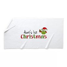 Aunt's 1st Christmas Owl Beach Towel