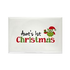 Aunt's 1st Christmas Owl Rectangle Magnet