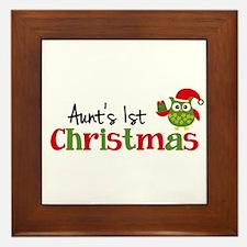 Aunt's 1st Christmas Owl Framed Tile