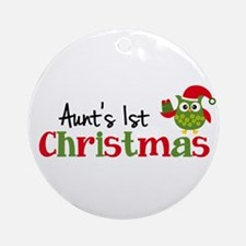 Aunt's 1st Christmas Owl Ornament (Round)