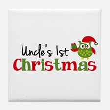Uncle's 1st Christmas Owl Tile Coaster