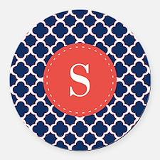 Quatrefoil Navy Blue White Red Custom Monogram Rou
