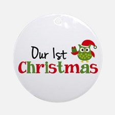 Our 1st Christmas Owl Ornament (Round)