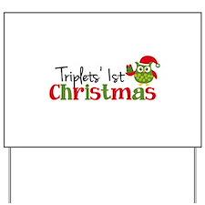Triplets' 1st Christmas Owl Yard Sign