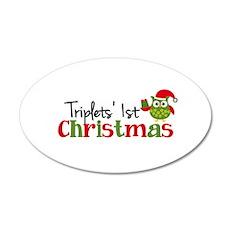 Triplets' 1st Christmas Owl Wall Decal