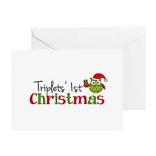 Triplets' 1st Christmas Owl Greeting Card