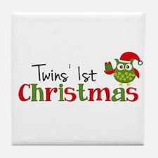 Twins' 1st Christmas Owl Tile Coaster