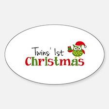 Twins' 1st Christmas Owl Sticker (Oval)