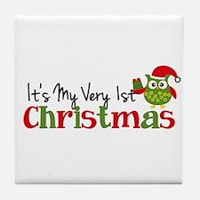 It's My Very 1st Christmas Owl Tile Coaster