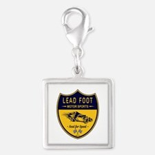 Lead Foot Hot Rod Silver Square Charm
