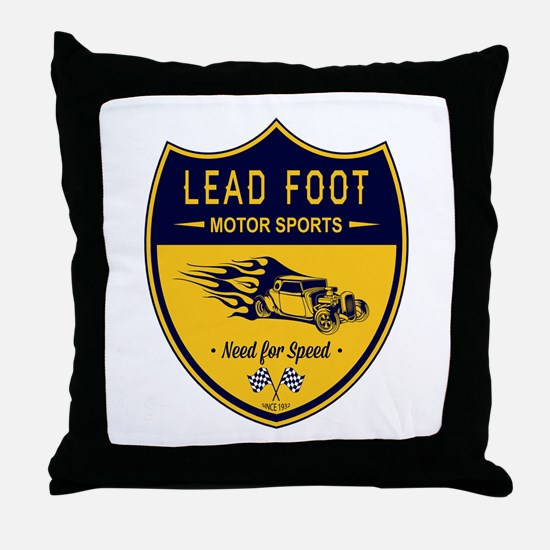 Lead Foot Hot Rod Throw Pillow