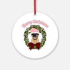 Christmas Pug Wreath Ornament (Round)