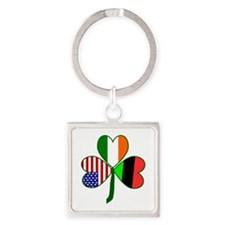 African American Shamrock Square Keychain