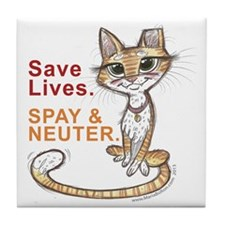 Save Lives Now Cat Tile Coaster