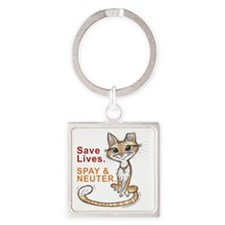 Save Lives Now Cat Square Keychain