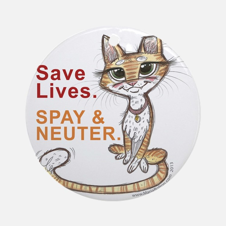 Save Lives Now Cat Round Ornament