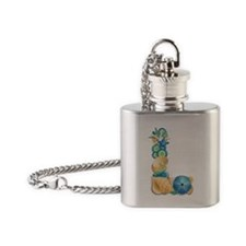 Beach Theme Initial L Flask Necklace