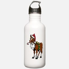 pony wearing santa hat Water Bottle