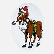pony wearing santa hat Oval Ornament