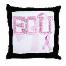 ECU initials, Pink Ribbon, Throw Pillow