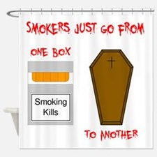 Smokers go from one box to another Shower Curtain