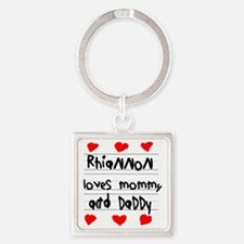 Rhiannon Loves Mommy and Daddy Square Keychain