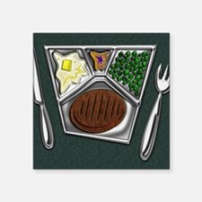 """12-TV Dinner Tray Cooked Fr Square Sticker 3"""" x 3"""""""
