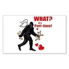 Part-time Cupid Bigfoot Anti-Valentine Decal