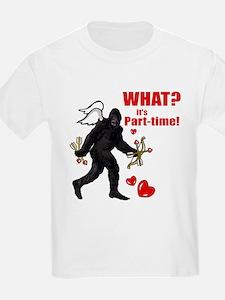 Part-time Cupid Bigfoot Anti-Valentine Kids T-Shir