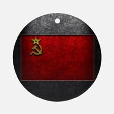 USSR Flag Stone Texture Round Ornament