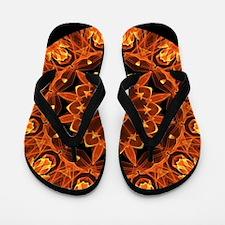 Orange Wheel of Fire Flip Flops
